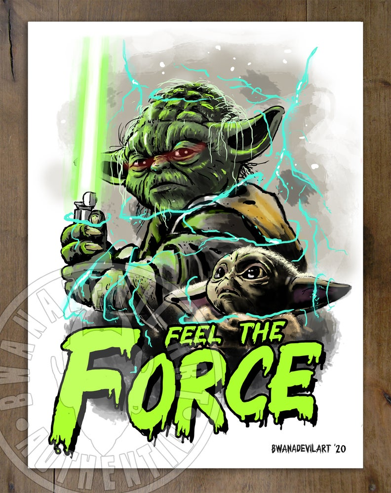 Image of Yoda and baby Yoda (Feel the Force) Art Print