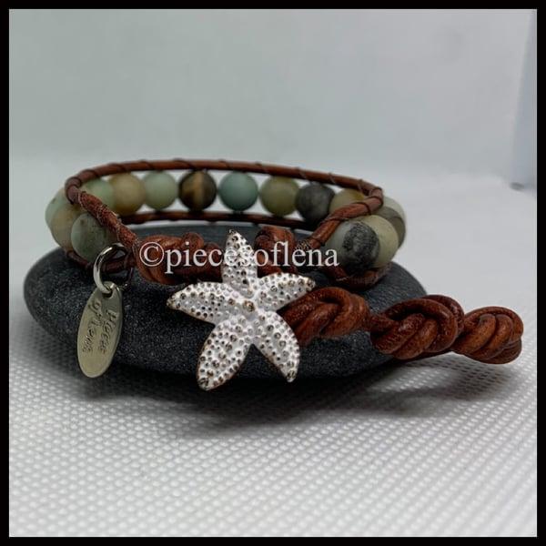 Image of SINGLE WRAP BRACELET - Amazonite White Starfish