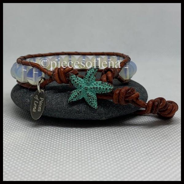 Image of SINGLE WRAP BRACELET - Moonstone Teal Starfish