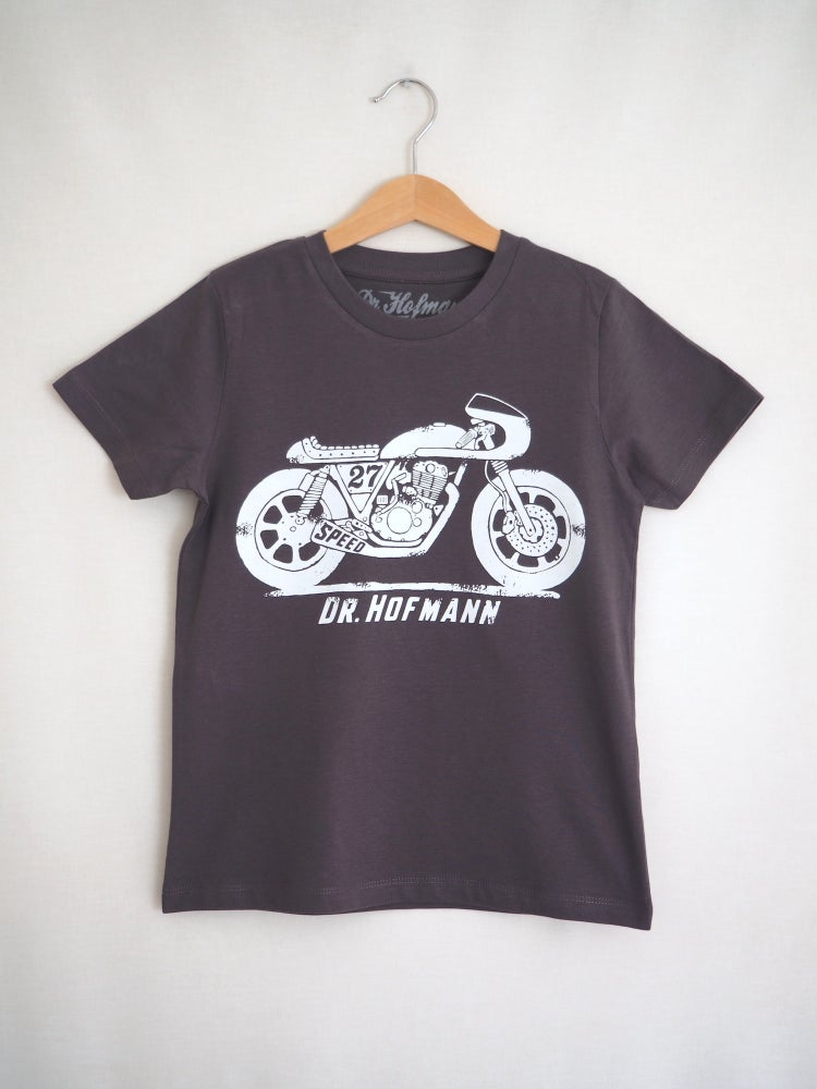 "Image of Kids ""CAFE RACER""  tee - Organic Cotton - Grey"