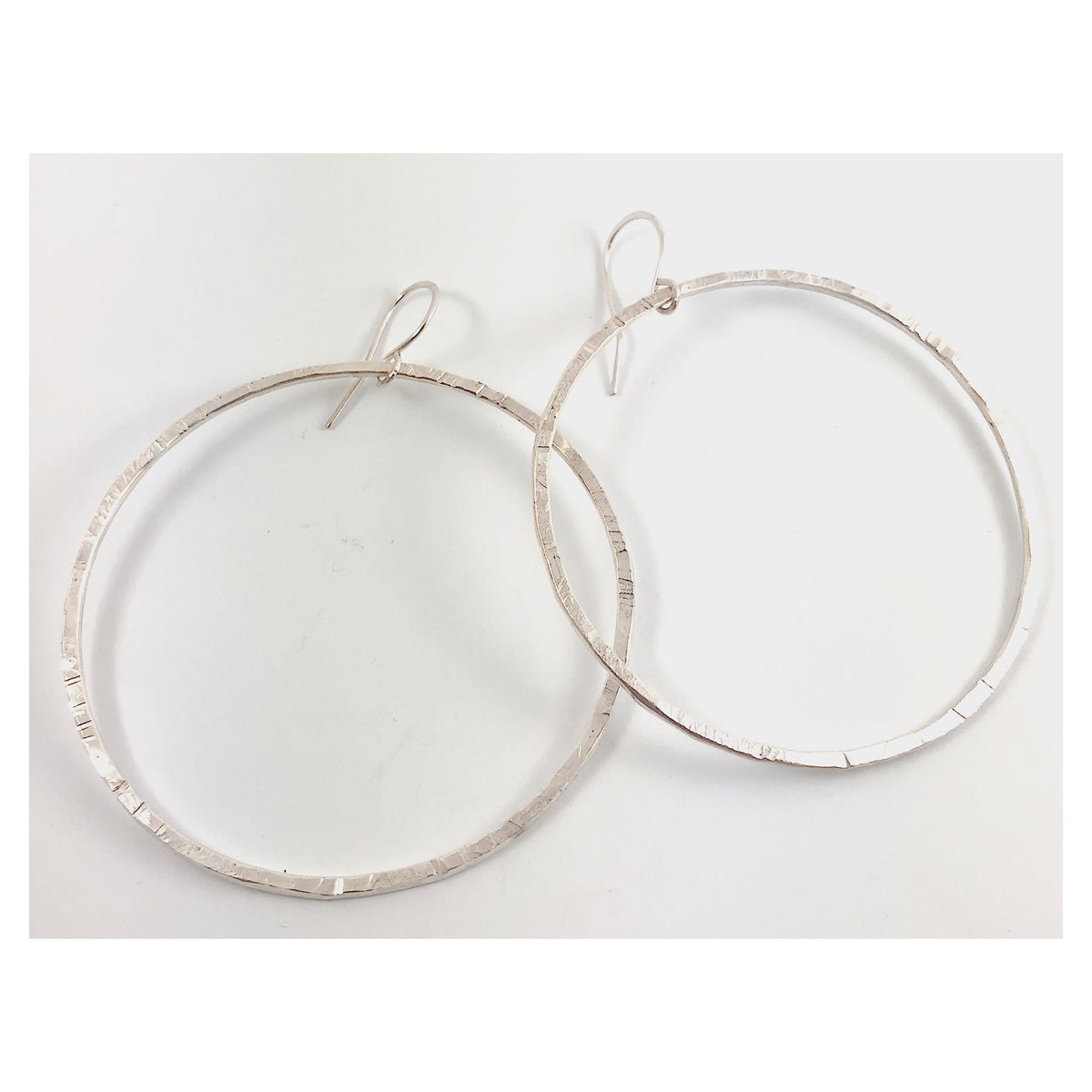 Image of Extra Large/Thick Textured Silver Hoops