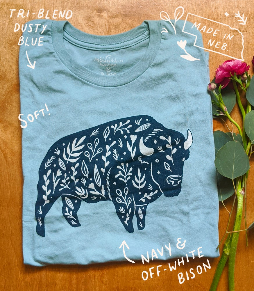 Image of Dusty Blue Floral Bison T-shirt
