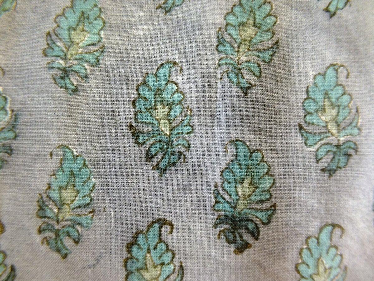 Image of Coupon 90 cm gris feuilles vertes