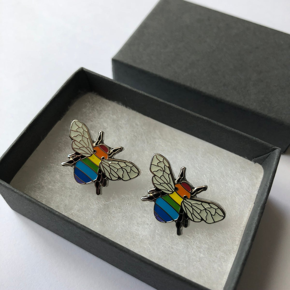 Image of Rainbow Bee Manchester Bee Cufflink Set