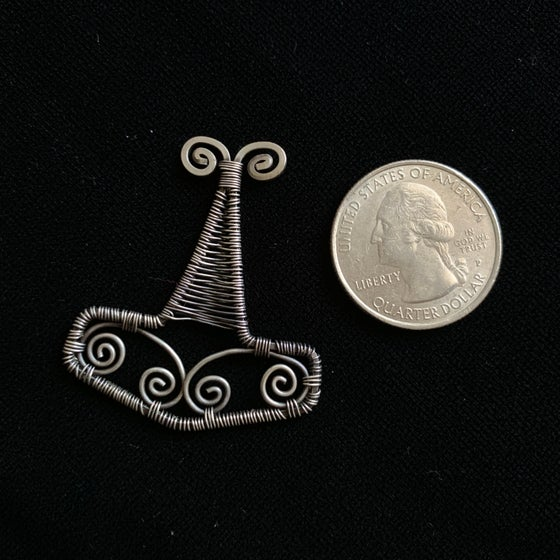 Image of Oxidized sterling silver Mjollnir