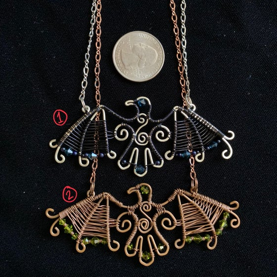 Image of Wire wrapped raven necklace