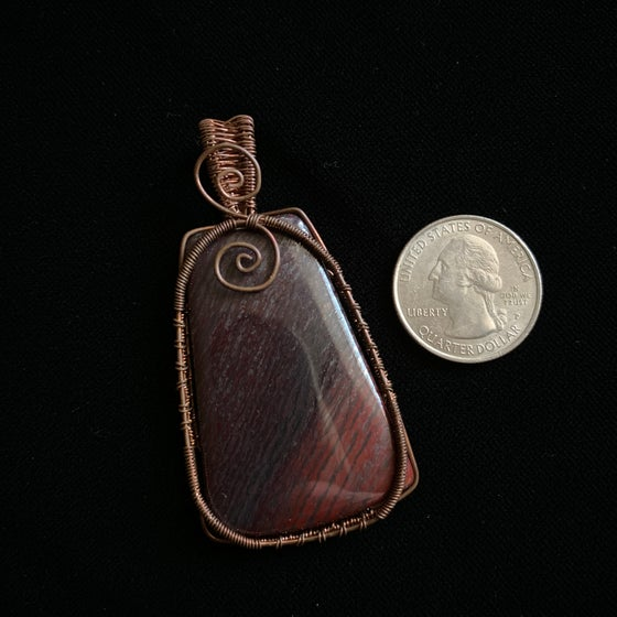 Image of Copper wire wrapped stone pendant
