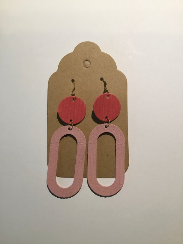 Image of Leather Earrings - Dot with O's Pink and Coral