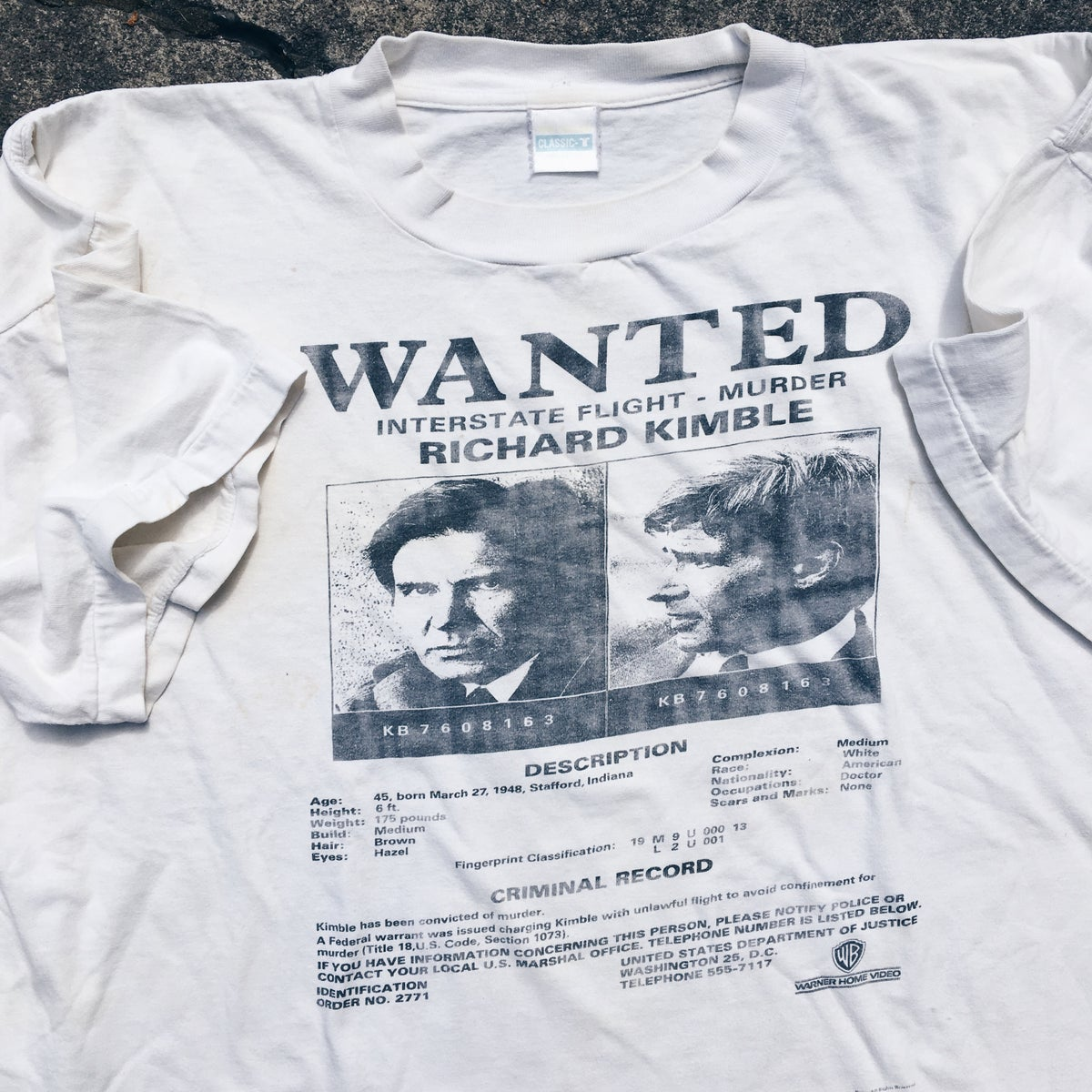 Image of Original 1993 The Fugitive Movie Promo Tee.