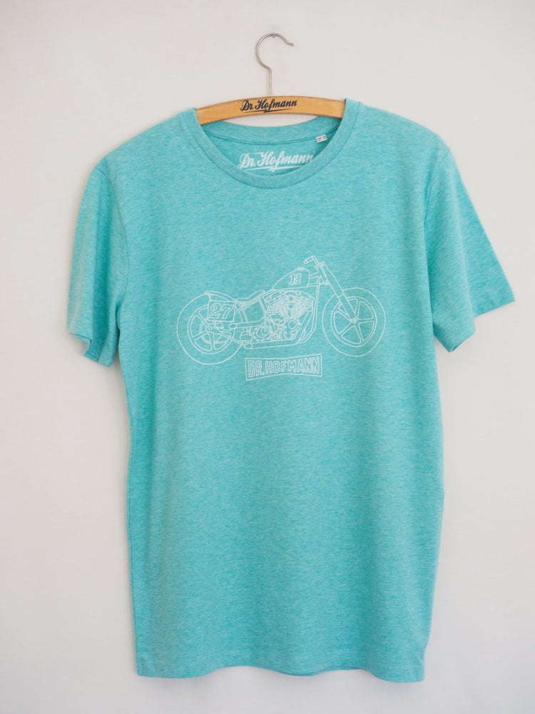 "Image of ""SPORTSTER TEE"" - Organic cotton - Turquoise heather"