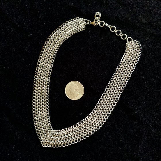 Image of Stainless steel chainmaille V choker