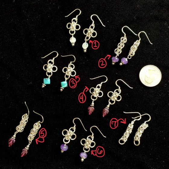 Image of Sterling silver chainmaille earrings