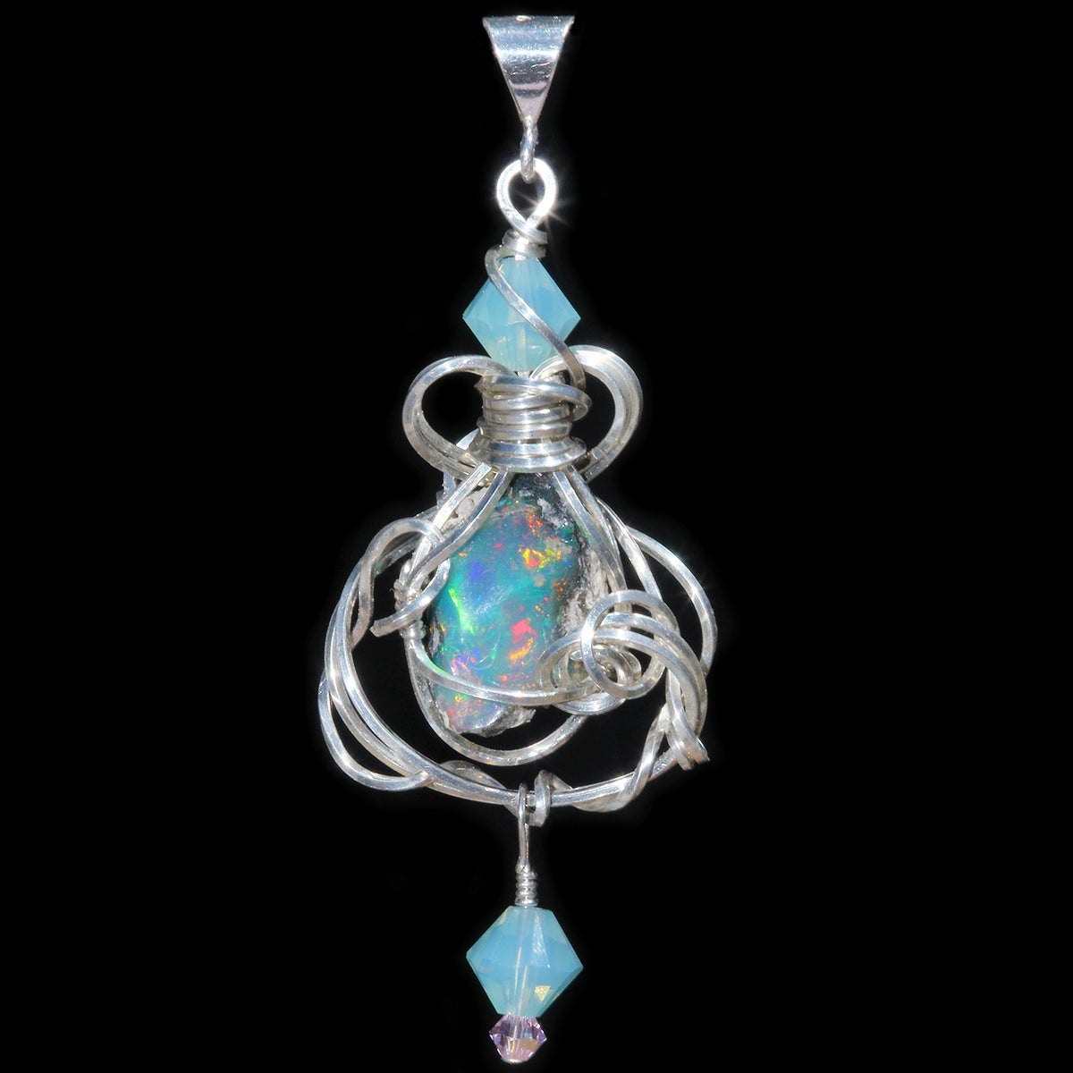 Ethiopian Opal Wire Wrapped Pendant