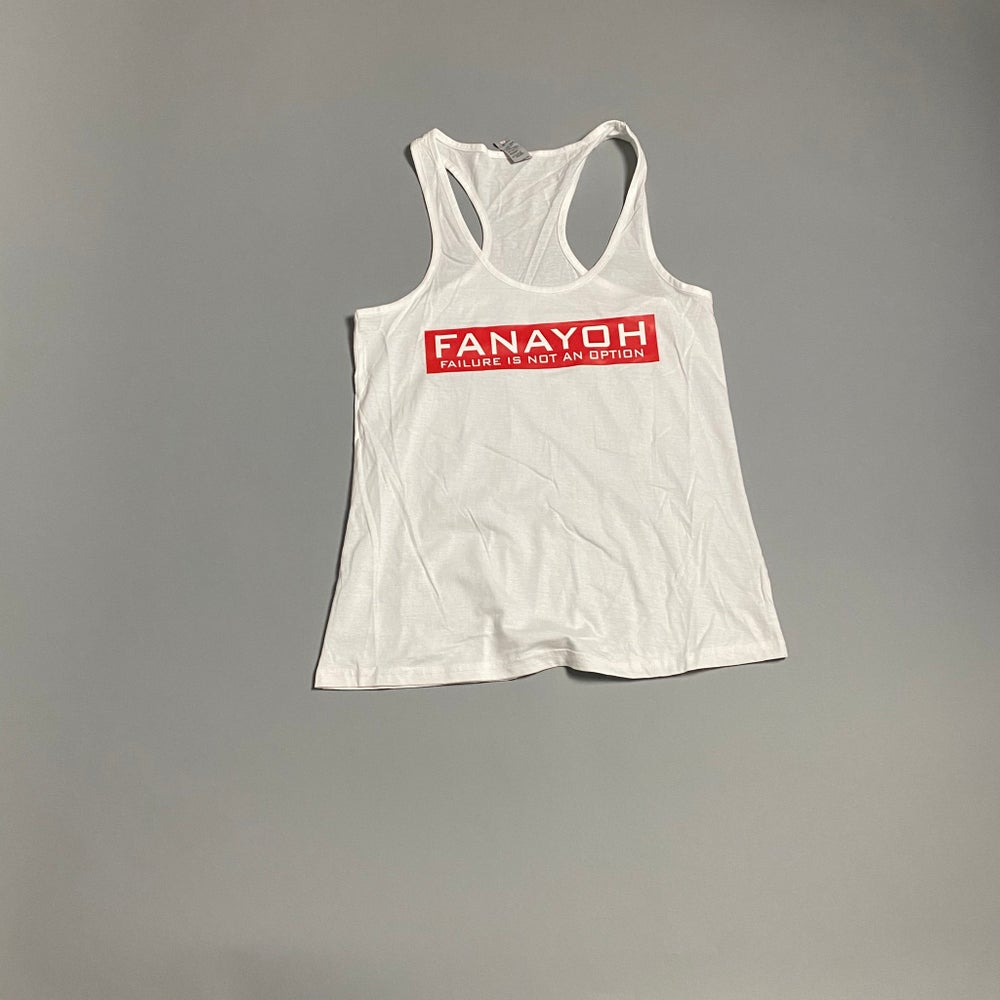 "Image of Women's FANAYOH ""Red Box"" RacerBack Tank Top (White)"