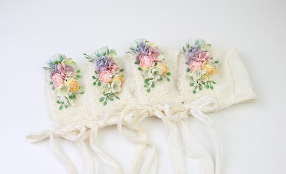 Image of Rainbow Floral Newborn Bonnet