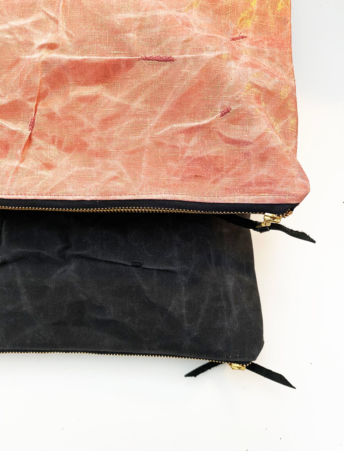 Mended Chaos - Large Clutch in Black Waxed Canvas