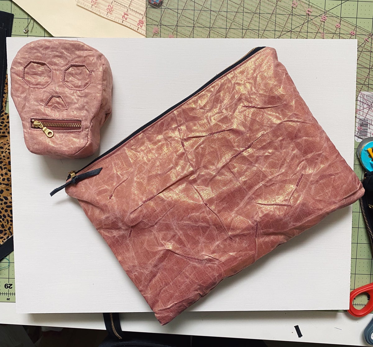 Mended Chaos - Large Clutch in Rose Gold Waxed Linen