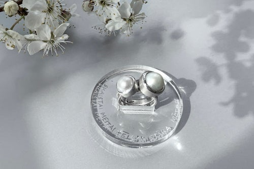 """Image of """"A daughter more beautiful.."""" silver rings with pearls  · MATRE PULCHRA FILIA PULCHIOR ·"""