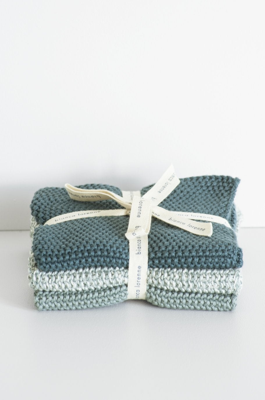 Lavette Teal Wash Cloths -Set of Three