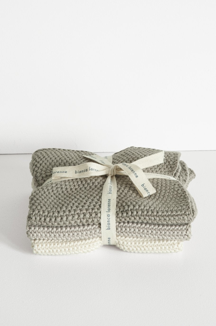 Lavette Taupe Wash Cloths - Set of Three