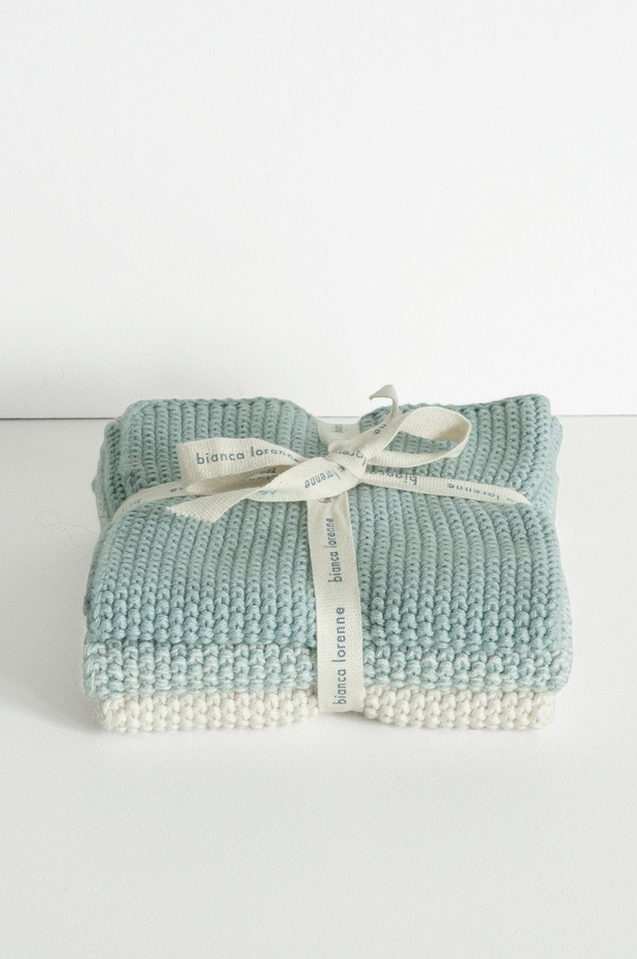 Lavette Duck Egg Wash Cloths -Set of three