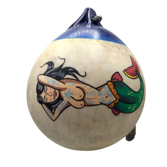 Image of Hand painted buoy rescued from Galician Beach