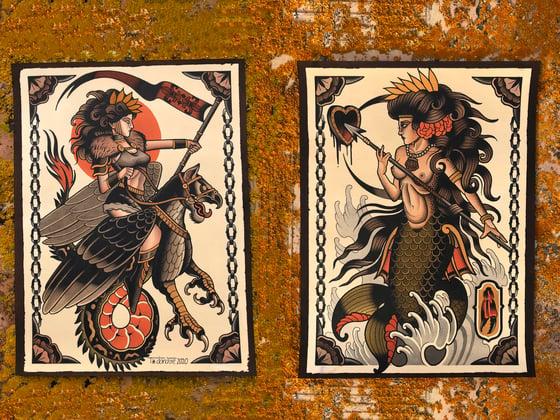 "Image of SET 2 PRINTS 40X30 cm ""MYTHOLOGICAL CREATURES"""