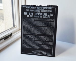 Michael Collins and the 1916 Proclamation deal/timber presentation included