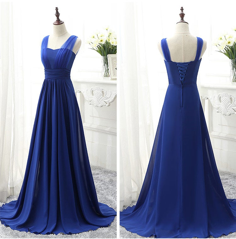 Charming Blue Long Prom Dress, Royal Blue Bridesmaid Dress