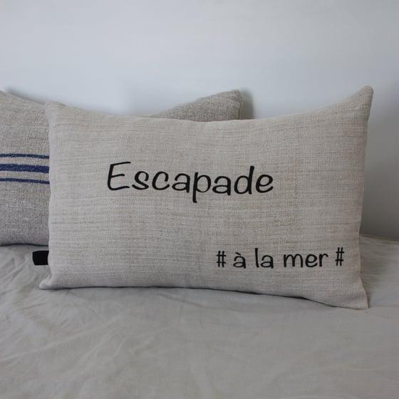 Image of Coussin rectangulaire en chanvre Escapade #àlamer#