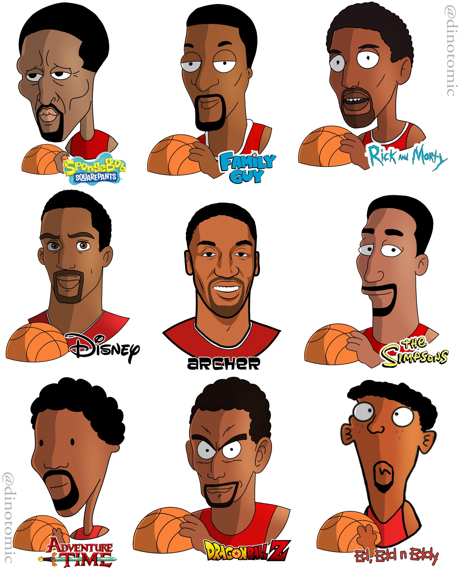 Image of #205 Scottie Pippen  drawn in 9 styles