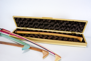 Image of Wooden Box with hinged lid, Back Scratcher Collector's Box, Gift Box, Cloth Lined