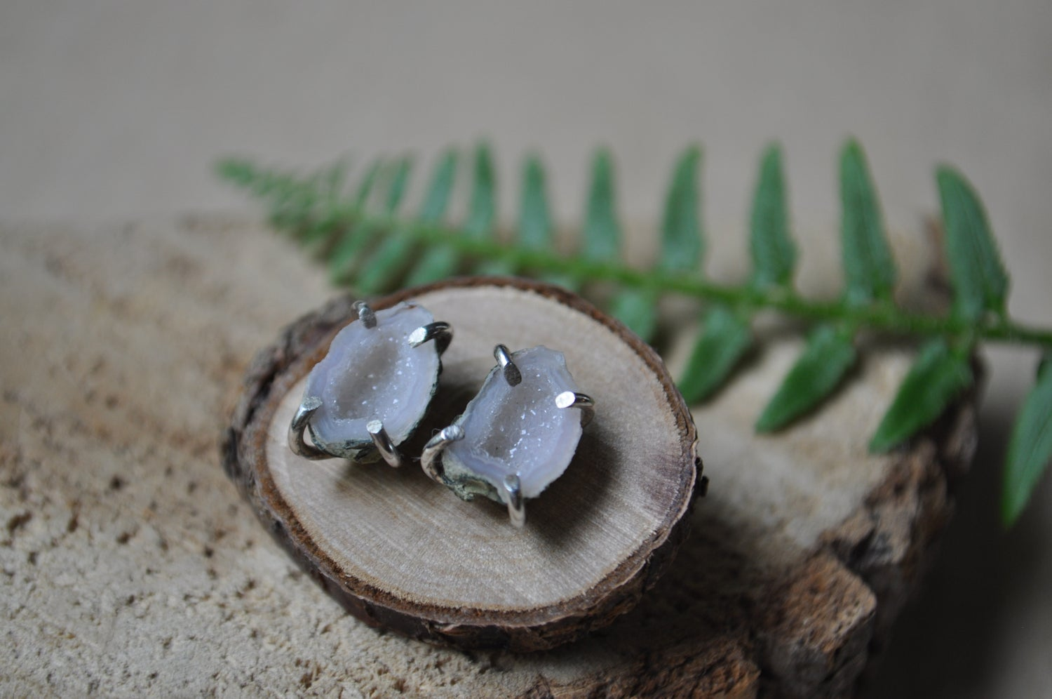 Image of One of a Kind Tabasco Geode Studs in Sterling Silver