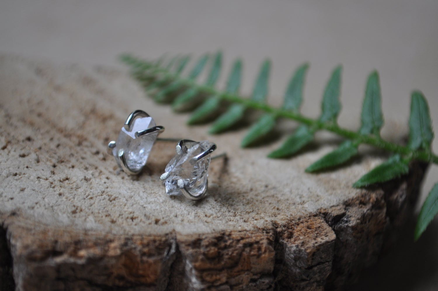 Image of One of a Kind Herkimer Diamond Stud Pair in Sterling Silver