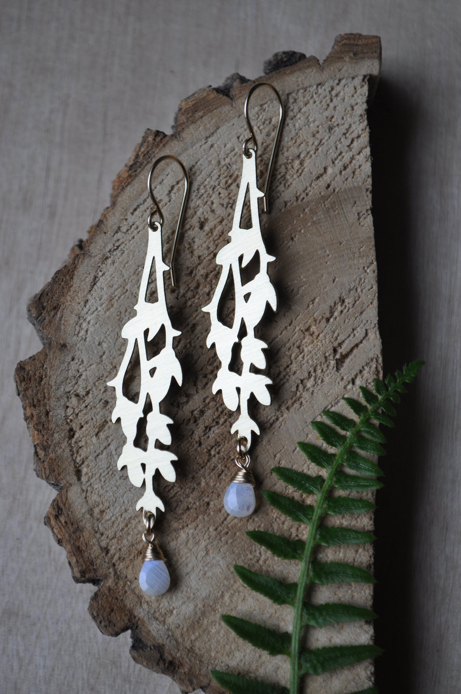 Image of Through the Vines Dangles - in Rainbow Moonstone