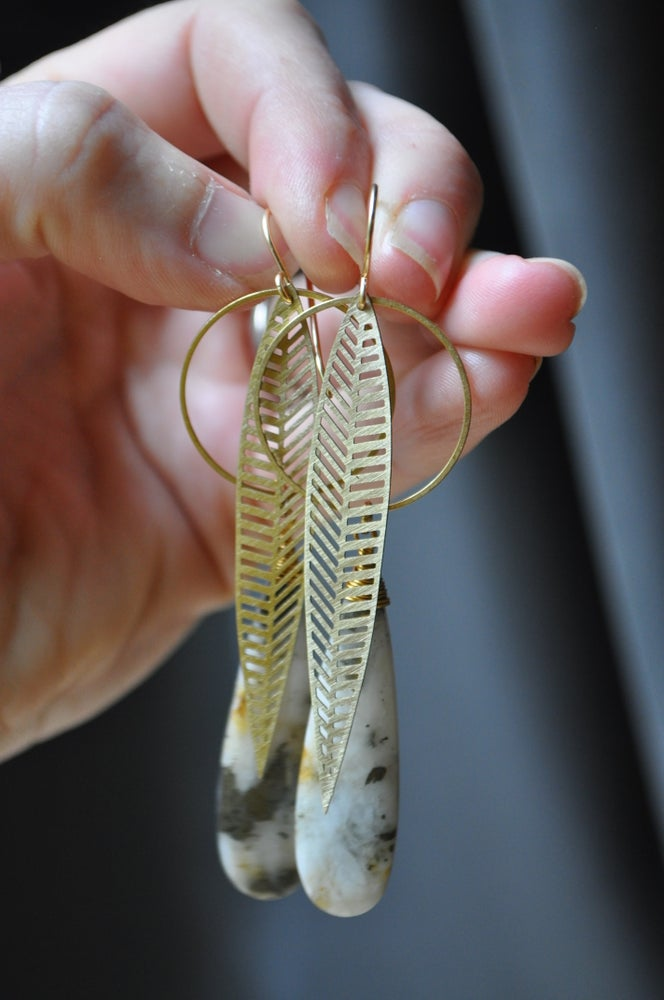 Image of White Quartz & Pyrite Leaf Hoops