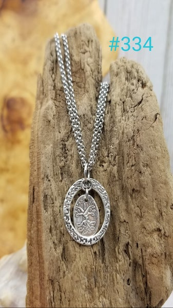 Image of Handmade- Recycled Fine Silver- Tree of Life- Necklace- #334