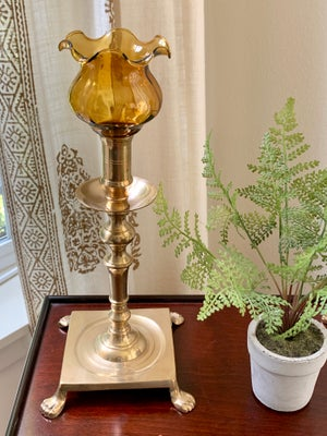 Image of Vintage set of two brass Claw foot candlesticks with  scones