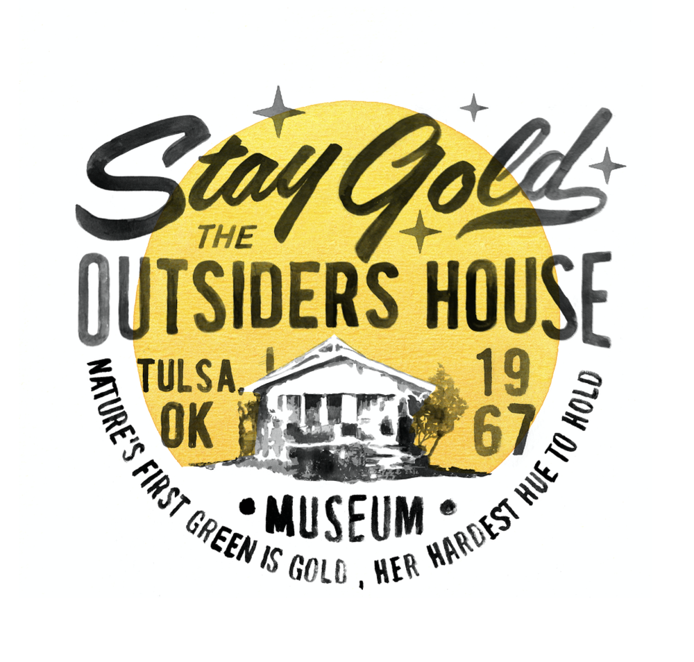 """Image of The Outsiders House Museum """"Stay Gold Sunrise"""" T-Shirt by Artist Glen Wolk."""