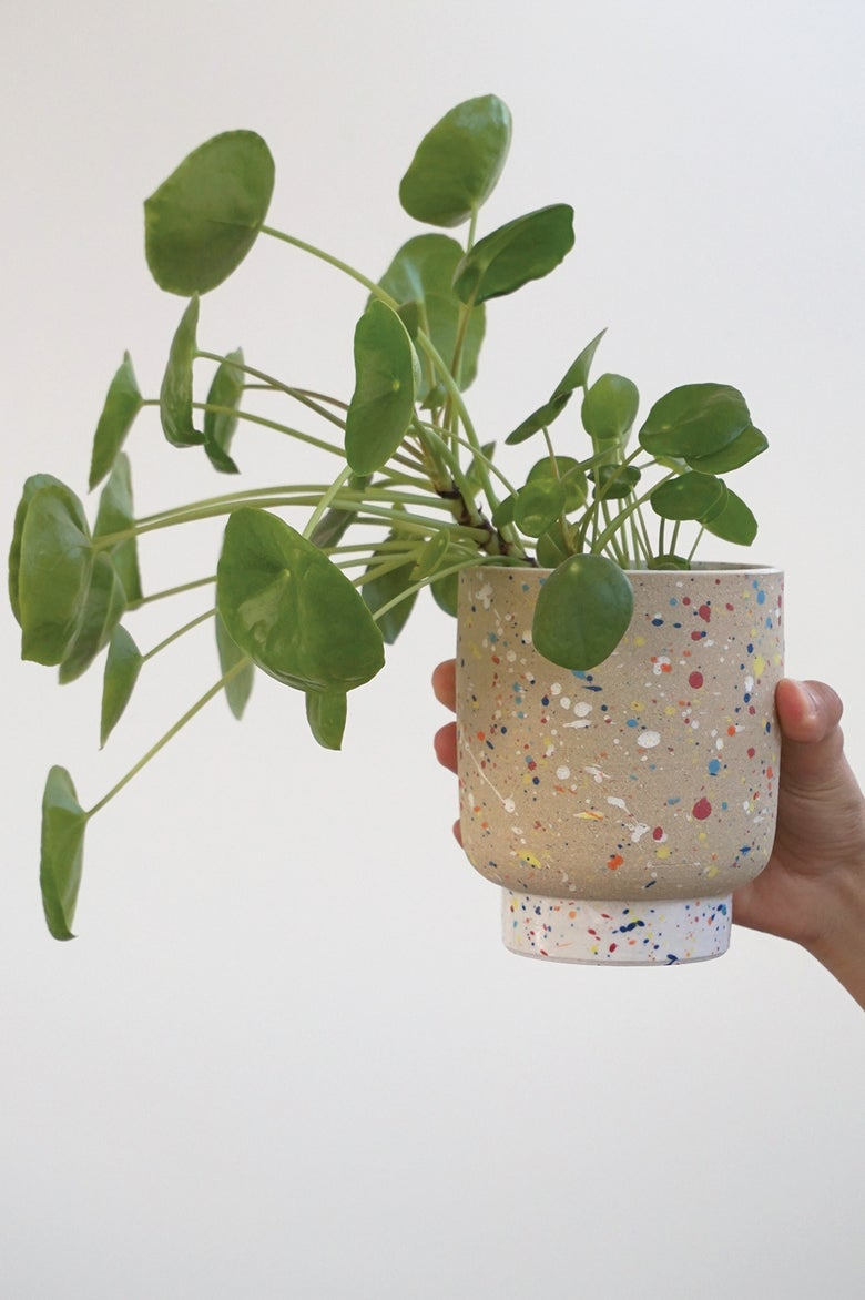 Image of Pollock Planter – white foot (WITH DRAINAGE) – ceramic pot