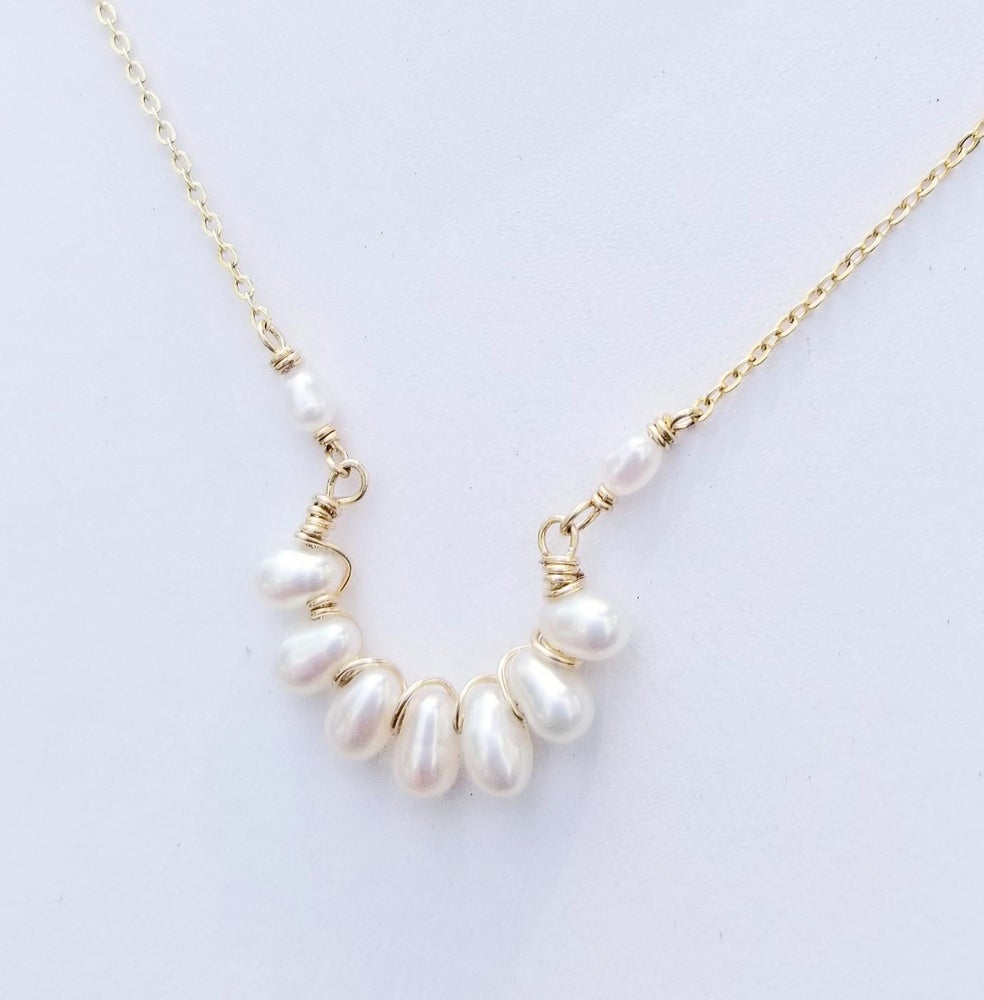 Image of 14k Gold-fill White Pearl Arc Necklace