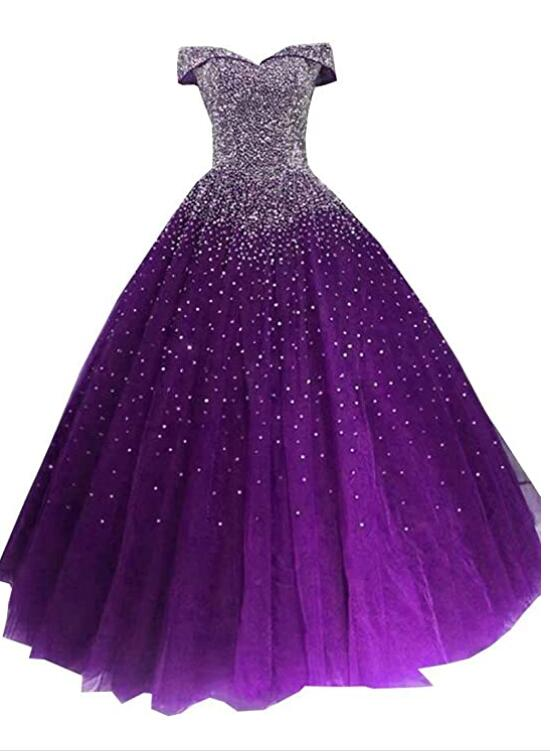 Beautiful Purple Tulle Long Party Dress, Sparkle Sweet 16 Gowns