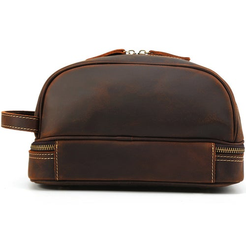Image of Men Leather Toiletry Bag Double Compartment Toiletry Travel Case  8814