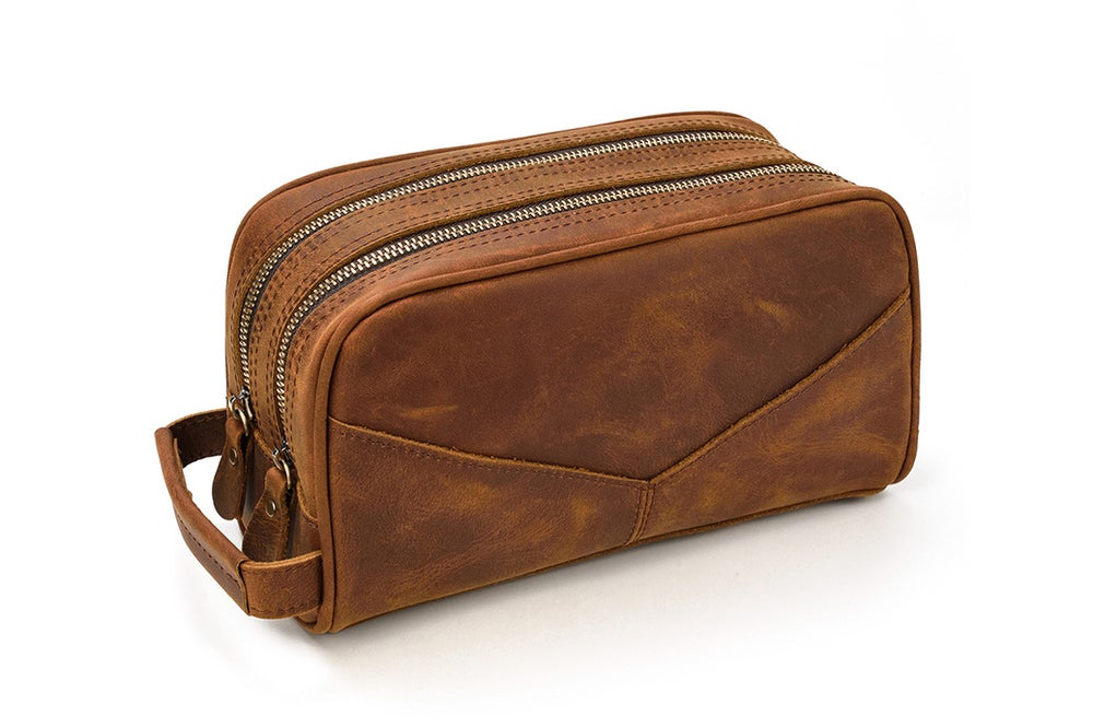 Image of Leather Toiletry Bag, Groomsmen Gift, Custom Leather Dopp Kit 2003