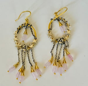 Image of Delicate pink quartz earrings