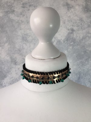Image of Rose Gold & teal beaded collar