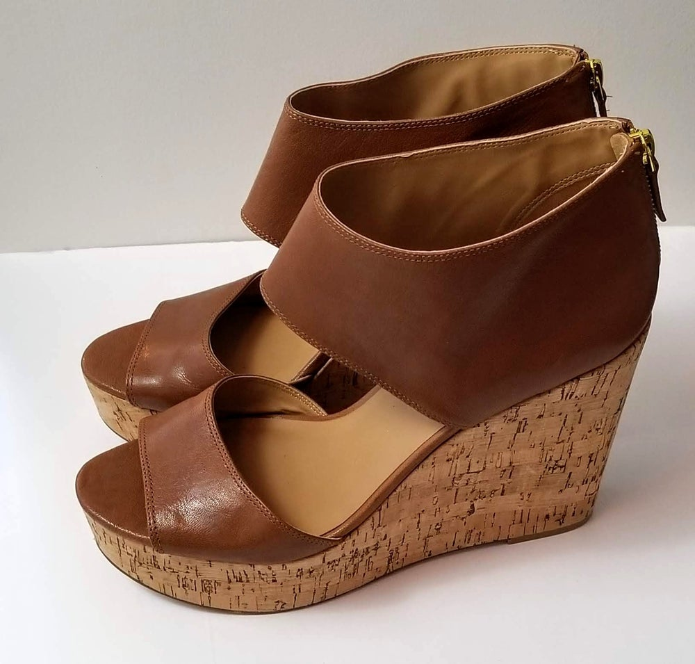 Image of Nine West Tan Leather Wedge Sandals Women's Shoe Size 12