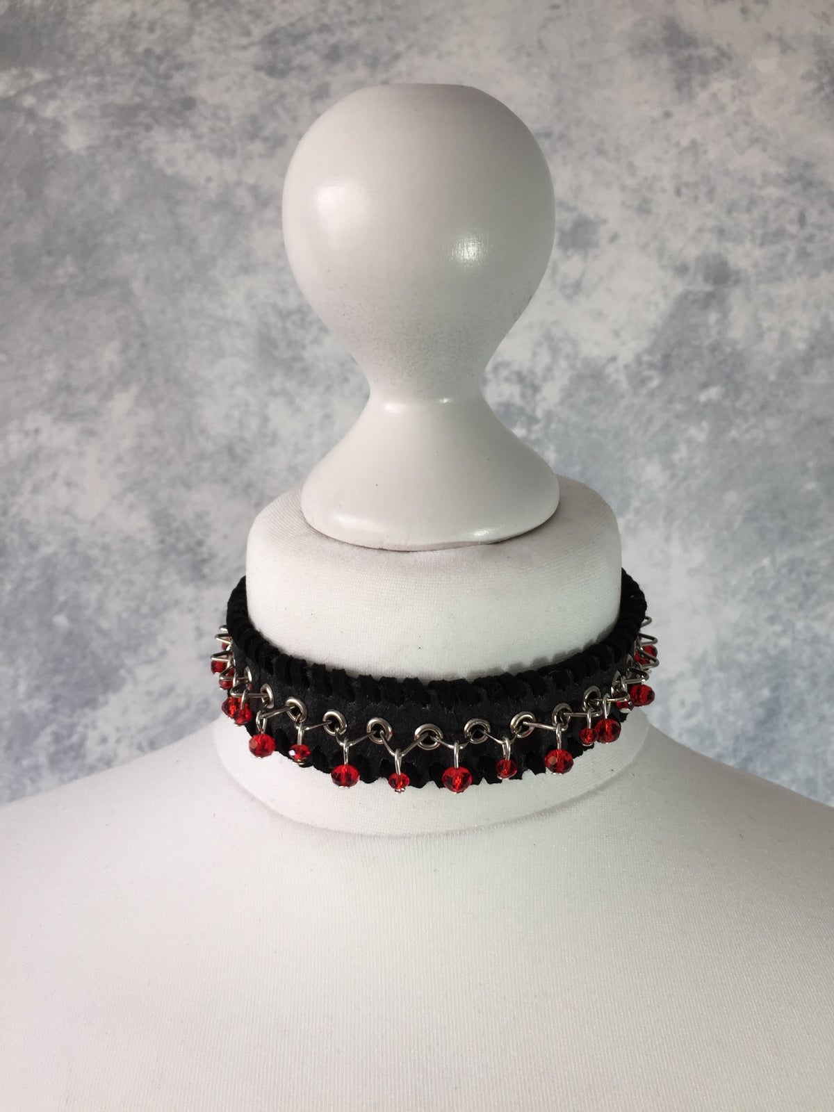 Image of Black Pinatex & red beads