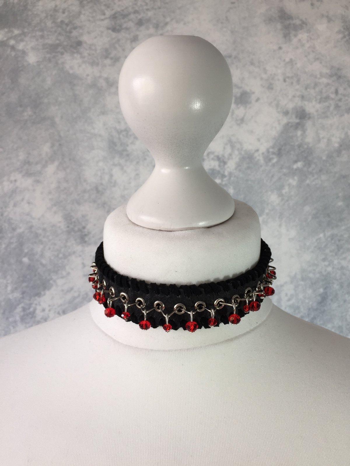 Image of Black Pinatex & red beads
