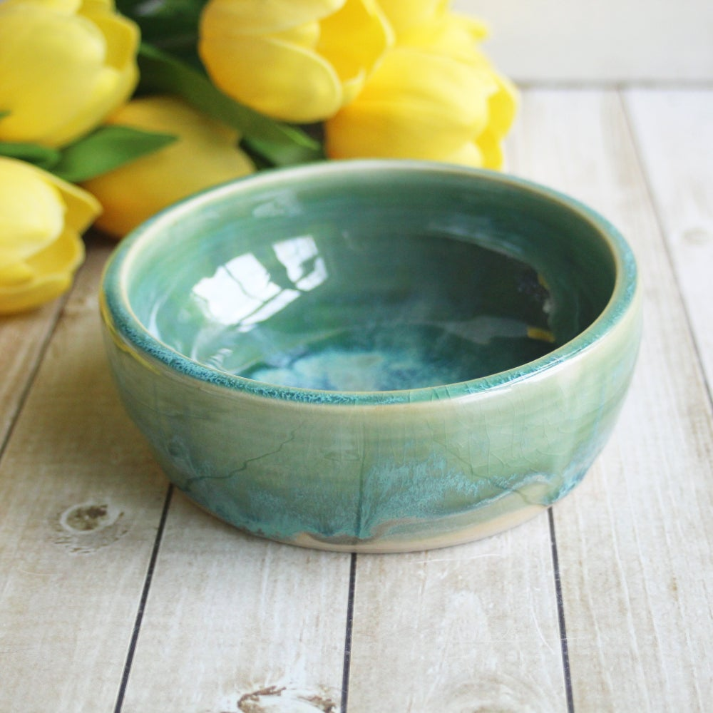Image of Handcrafted Ceramic Pet Bowl in Shimmering Green Glaze, Made with Love in the USA